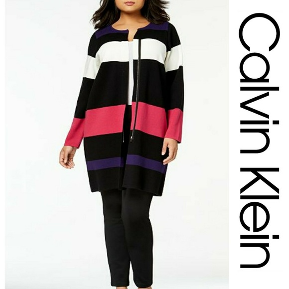 60d45ad9075 NWT Calvin Klein Striped Long Cardigan Coat